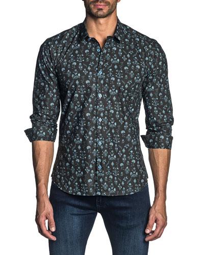 Men's Long-Sleeve Floral Sport Shirt