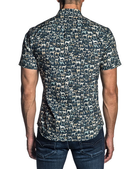 Jared Lang Men's Short-Sleeve Dog-Print Sport Shirt