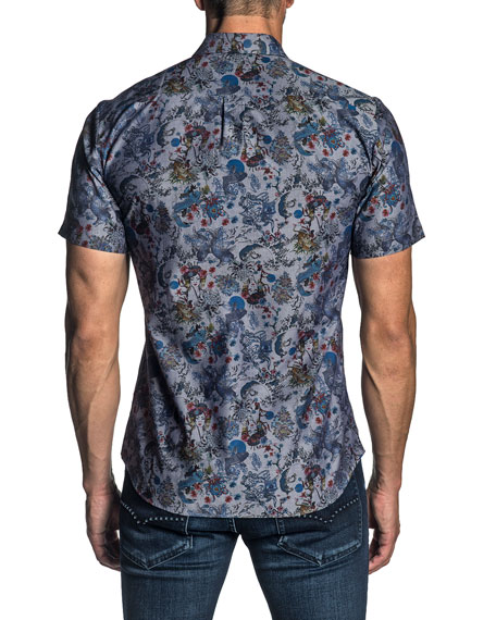 Jared Lang Men's Short-Sleeve Geisha Print Sport Shirt