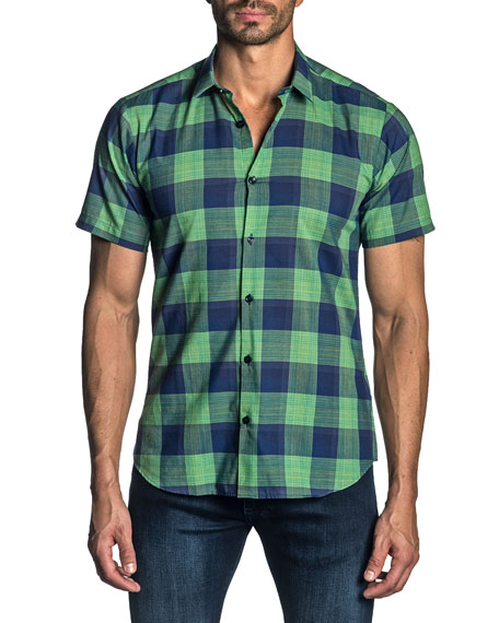 Jared Lang Men's Short-Sleeve Check Sport Shirt