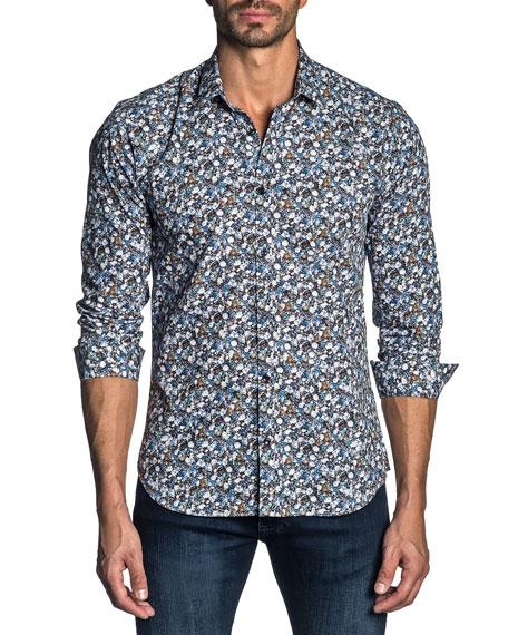 Jared Lang Men's Long-Sleeve Floral Print Sport Shirt