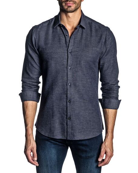 Jared Lang Men's Long-Sleeve Solid Knit Sport Shirt