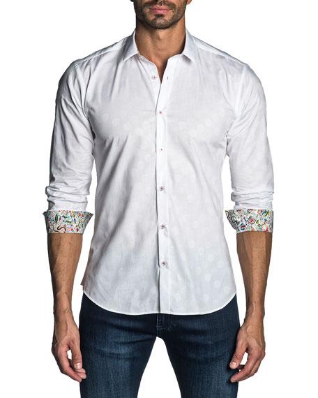 Jared Lang Men's Modern-Fit Long-Sleeve Jacquard Shirt