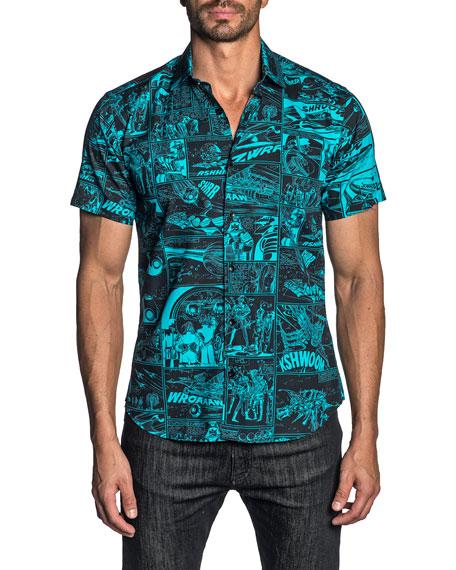 Jared Lang Men's Comic Book Print Short-Sleeve Sport Shirt
