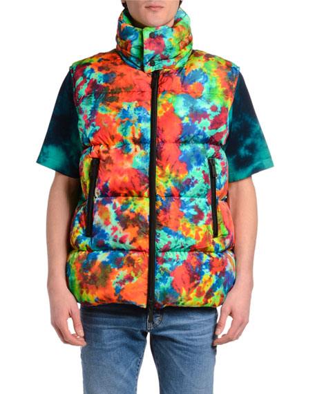Dsquared2 Men's Allover Tie-Dye Puffer Vest