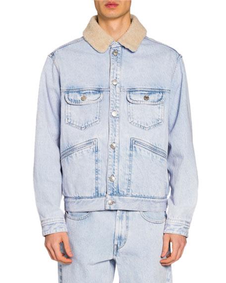Isabel Marant Men's Jean Jacket w/ Faux-Shearling Collar