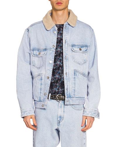 Men's Jean Jacket w/ Faux-Shearling Collar