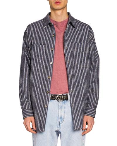 Men's Striped Flannel Sport Shirt