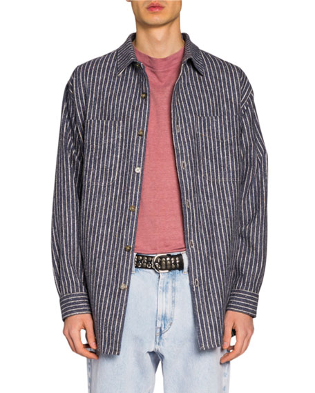 Isabel Marant Men's Striped Flannel Sport Shirt