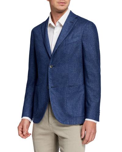 Men's Solid Cashmere-Blend Sport Jacket
