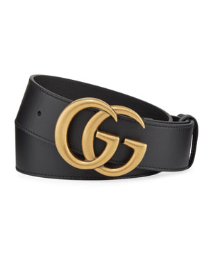025cd88db Gucci Men's Running GG Logo Leather Belt