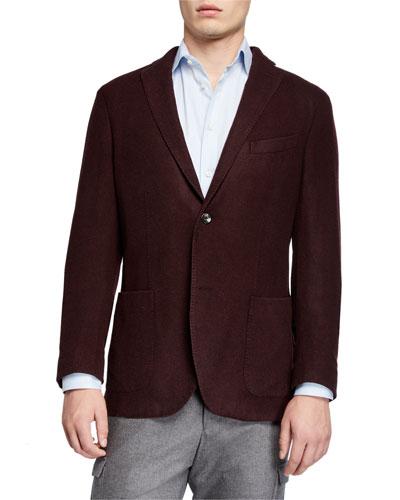 Men's Plush Wool Two-Button Jacket