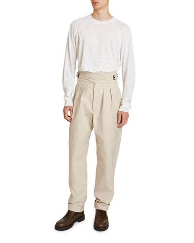 Men's Geny Pleated-Front Cummerbund Pants