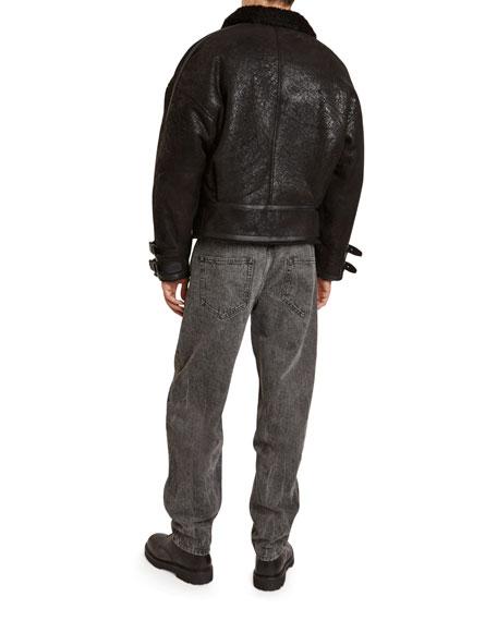 Isabel Marant Men's Aylias Shiny Cotton Jacket with Shearling Collar