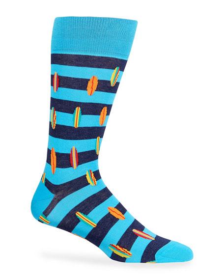 Neiman Marcus Men's Surf Board Stripe Socks