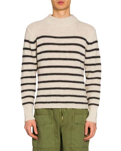 Men's Striped Mock-Neck Sweater