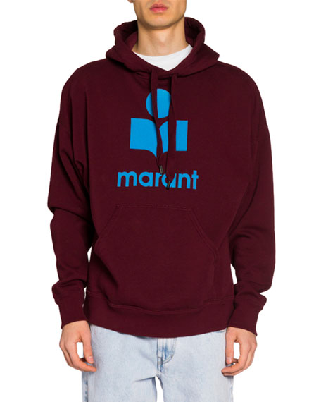 Isabel Marant Men's Pullover Hoodie w/ Felted Logo