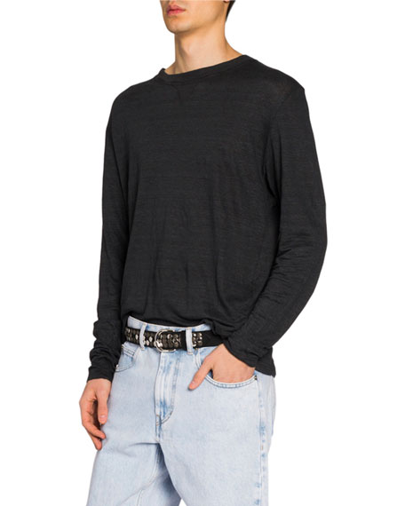 Isabel Marant Men's Slub Linen Long-Sleeve T-Shirt