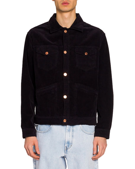 Isabel Marant Men's Corduroy Wolf Embroidered-Back Jacket