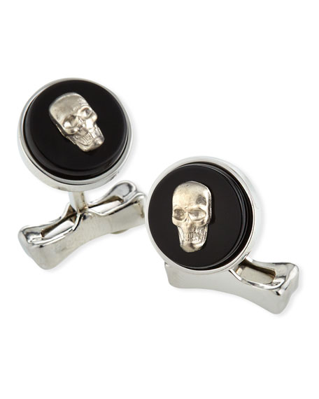 Alexander McQueen Men's Skull-on-Stone Cufflinks  with Black Onyx