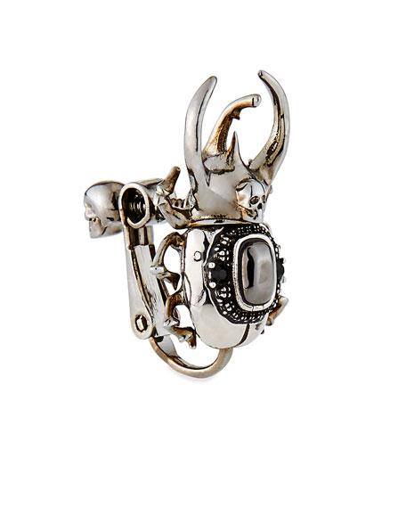 Alexander McQueen Men's Beetle & Skull Stone Brooch