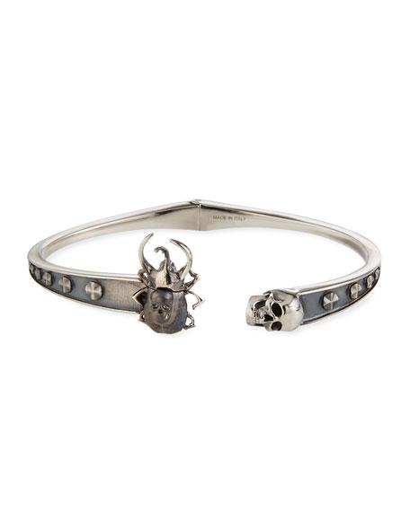 Alexander McQueen Men's Beetle & Skull Cuff Bracelet