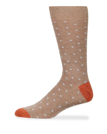 Neiman Marcus Men's Polka Dotted Cotton Socks