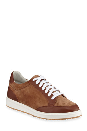 Brunello Cucinelli Men's Perforated Suede Low-Top Sneakers