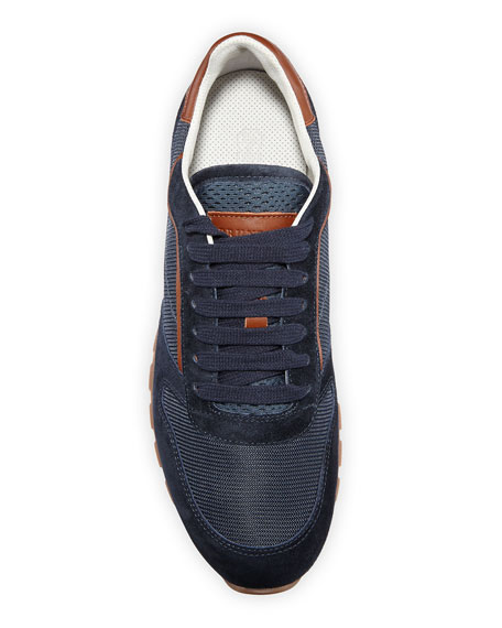 Brunello Cucinelli Men's Suede & Mesh Runner Sneakers
