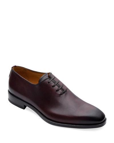 Men's Lorenzo Whole-Cut Antiqued Leather Oxford Shoes