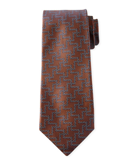 Isaia Ties MEN'S SILK EXPLODED HOUNDSTOOTH TIE, TOBACCO
