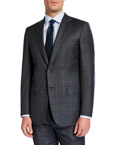 Men's Windowpane Two-Piece Wool Suit
