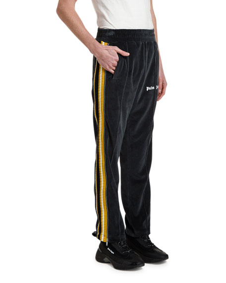 Palm Angels Men's Chenille Track Pants with Side Stripes