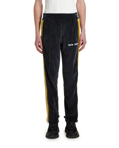 Men's Chenille Track Pants with Side Stripes