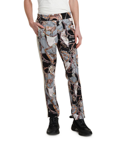 Palm Angels Men's Bridle-Print Track Pants with Side Stripe