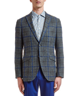 9b17b082 Etro Men's Windowpane Two-Button Jacket