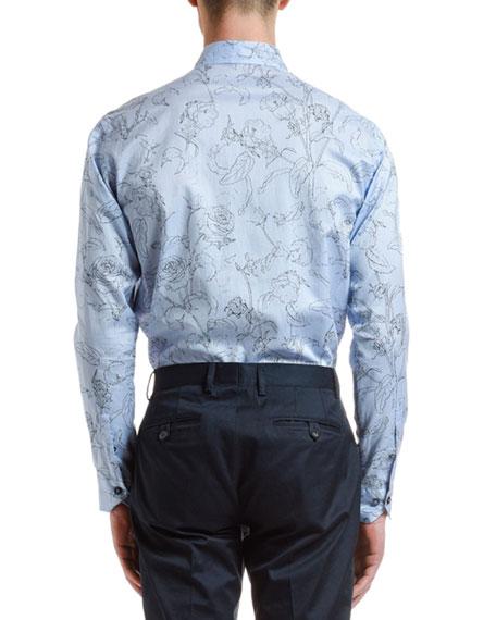 Etro Men's Stencil Floral Sport Shirt