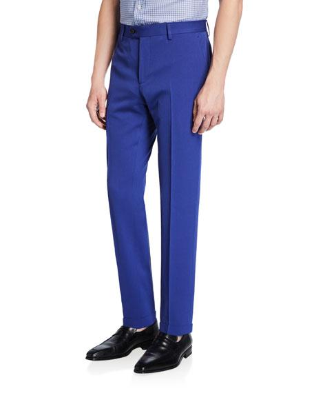 Etro Men's Solid Wool Straight-Leg Trousers