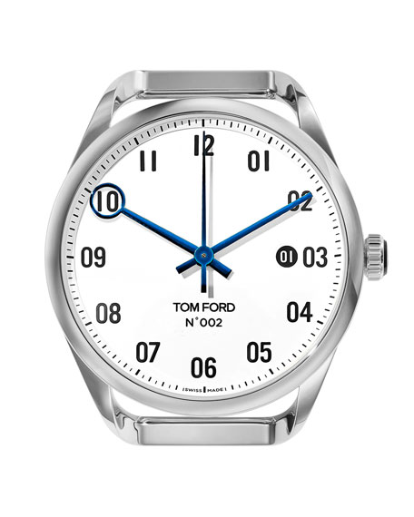 TOM FORD TIMEPIECES Men's Automatic Round Polished Stainless Steel Case, White Dial, Large