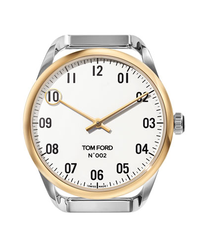 Round Two-Tone Polished Stainless Steel Case, White Dial, Large