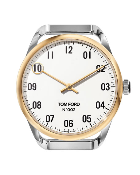 TOM FORD TIMEPIECES Round Two-Tone Polished Stainless Steel Case, White Dial, Large