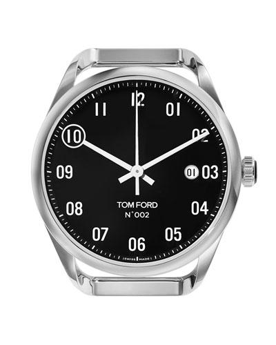 Men's Automatic Round Polished Stainless Steel Case  Black Dial  Large