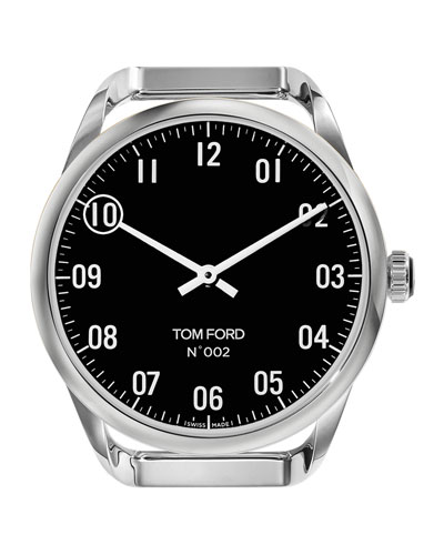Men's Round Polished Stainless Steel Case  Black Dial  Large