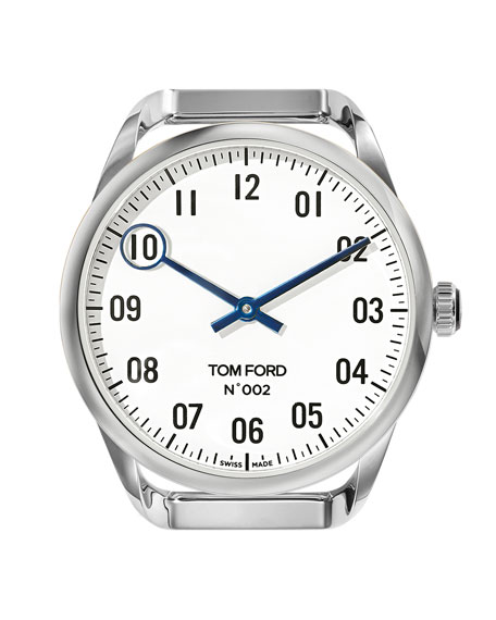 TOM FORD TIMEPIECES Men's Round Polished Stainless Steel Case, White Dial, Large