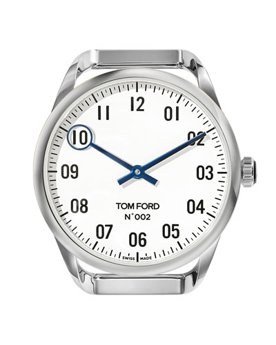 Men's Round Polished Stainless Steel Case  White Dial  Large