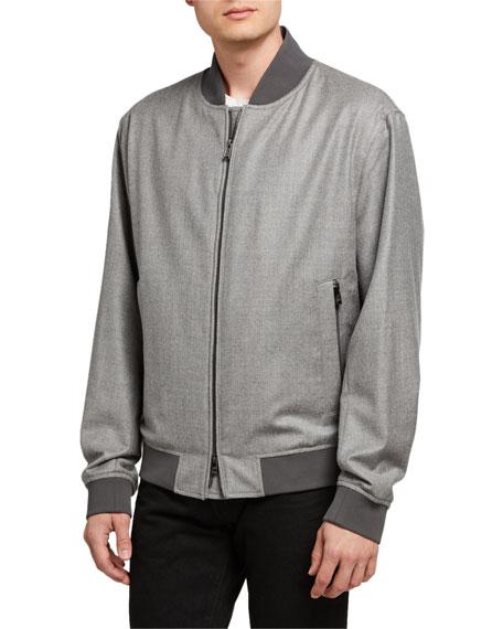 BOSS Men's Wool Flannel Bomber Jacket