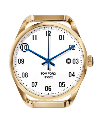 Men's Automatic Round 18K Gold Case  White Dial  Large