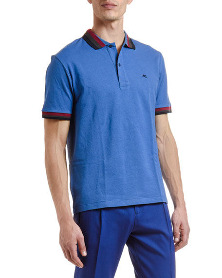 Etro Men's Tri-Stripe Trim Polo Shirt