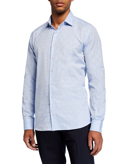 Etro Men's Tile Jacquard Cotton Sport Shirt