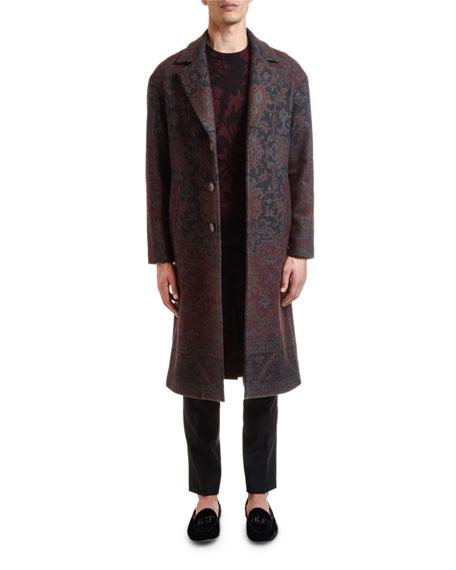 Etro Men's Damask Floral Print Wool Coat
